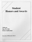 Student Honors and Awards Program 1992 by University Relations