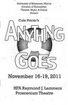 Anything Goes, November 16-19, 2011 by Theatre Arts Discipline